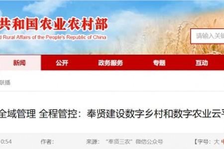全球管理的全面管控:奉贤打造数字乡村、数字农业云平台